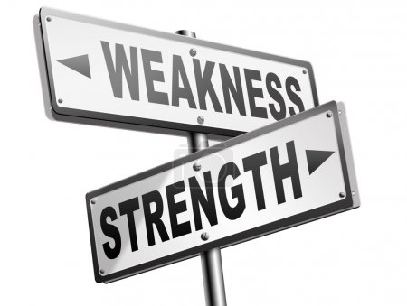 Strength weakness road sign
