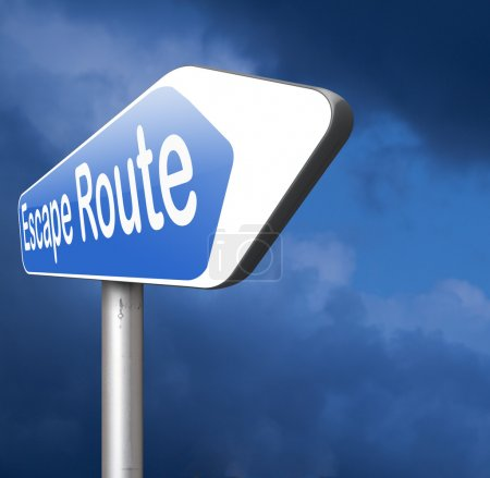 escape route to safety road sign