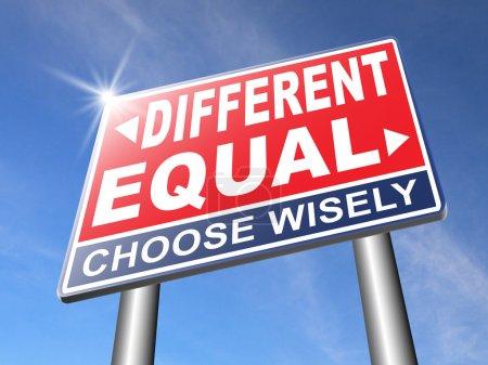 Photo pour Égale ou différente de l'égalité en droits et des chances pour tous sans discrimination ou racisme embrasser la diversité - image libre de droit