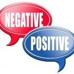 Постер, плакат: Negative or positive thinking speech bubbles
