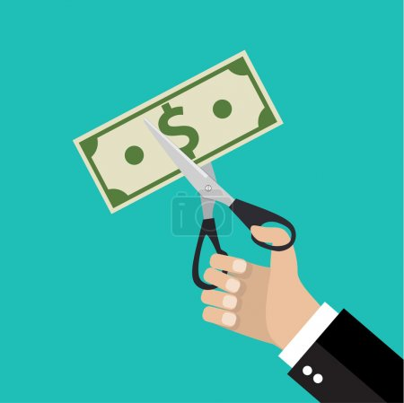 Illustration for Businessman Hands holding scissors and cutting money bill. Reducing cost concept. vector illustration in flat design on green background - Royalty Free Image