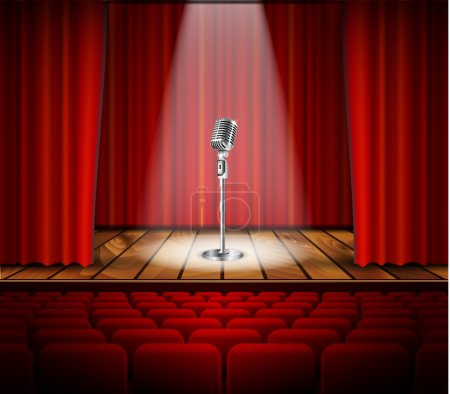 Illustration for Metallic silver vintage microphone standing on empty stage under beam of spotlight light. mic on podium in the dark against red curtain backdrop. vector art image illustration, retro design - Royalty Free Image
