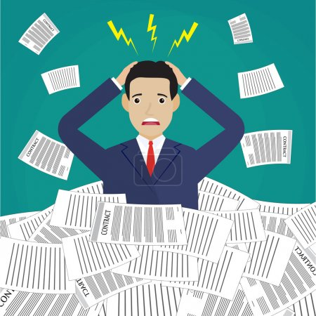 Illustration for Stressed cartoon businessman in pile of office papers and documents. Stress at work. Overworked. Vector illustration in flat design on green background. - Royalty Free Image