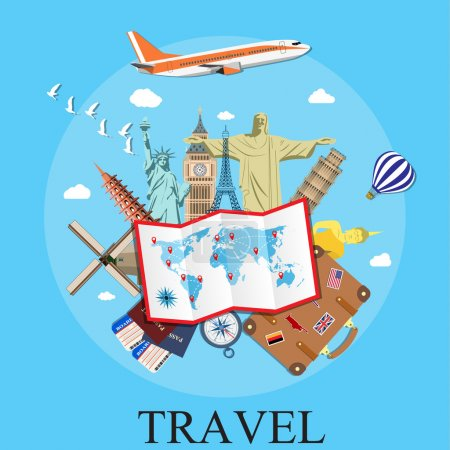 Illustration for Travel by plane. World Travel. Planning summer vacations. Summer holiday. Tourism and vacation theme. vector illustration in flat design. travel and vacations concept - Royalty Free Image