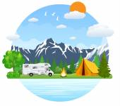 Forest camping landscape with rv traveler bus in flat design