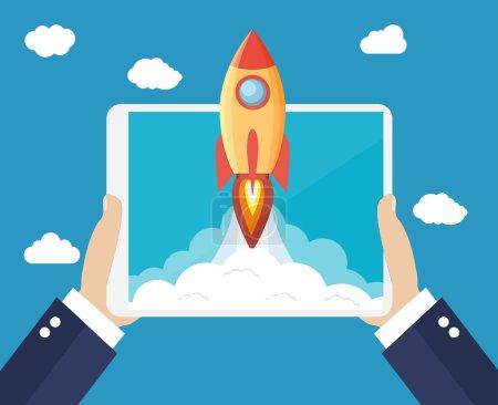 Illustration pour Succès du concept d'entreprise en démarrage. Mains tenant une tablette avec lancement de fusée spatiale. Illustration vectorielle en style plat - image libre de droit