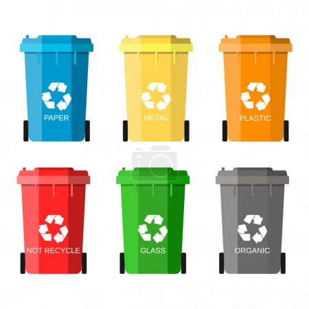 Illustration for Waste management concept. Waste segregation. Separation of waste on garbage cans. Sorting waste for recycling. Disposal waste. Colored waste bins with trash. Vector illustration in flat design - Royalty Free Image