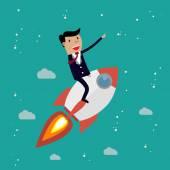 Startup-Unternehmen. Kaufmann mit einer Rakete
