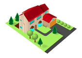 Isometric family house with garage