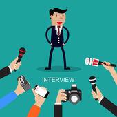 Media conducting a press interview with a businessman