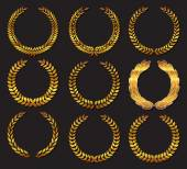 Set Laurel wreath Design element for construction of medals awards coat of arms or anniversary logo Gold award icon or sign isolated on dark background Vector illustration