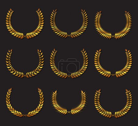 Illustration for Set Laurel wreath. Design element for construction of medals, awards, coat of arms or anniversary logo. Gold award icon or sign isolated on dark background. Vector illustration. - Royalty Free Image
