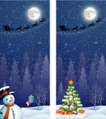 Cute snowman and Christmas tree with giftbox  on the background of night sky with  moon and the silhouette of Santa Claus flying on a sleigh  Vector illustration vertical banners