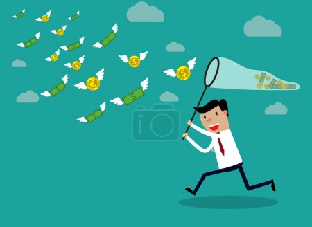 Illustration for Businessman running with butterfly net chasing money which is flying in the air. Finance business concept. vector illustration in flat design on green backgound - Royalty Free Image