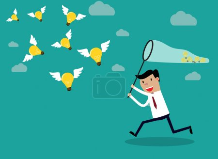 Illustration for Businessman running with butterfly net catching light bulbs which are flying in the air. Idea business concept. Vector illustration - Royalty Free Image