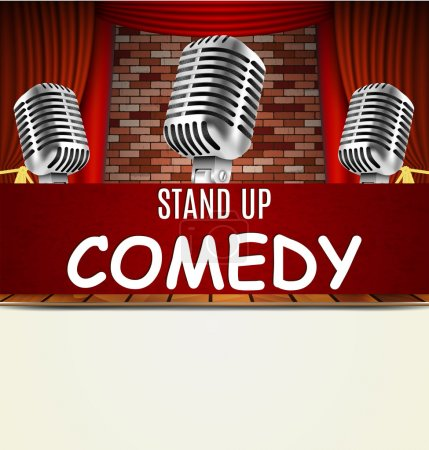 Illustration for Stand Up Comedy Show flyer, banner, poster. Vintage microphone against red curtain and brick wall. vector art image illustration. stand up comedian night show background  with text space  retro design - Royalty Free Image