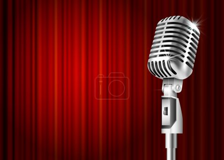 Illustration for Vintage metal microphone against red curtain backdrop. mic on empty theatre stage, vector art image illustration. stand up comedian night show or karaoke party background with text space. retro design - Royalty Free Image