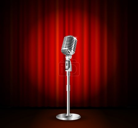 Illustration for Vintage metal microphone against red curtain backdrop. mic on empty theatre stage, vector art image illustration. stand up comedian night show or karaoke party background. retro design - Royalty Free Image
