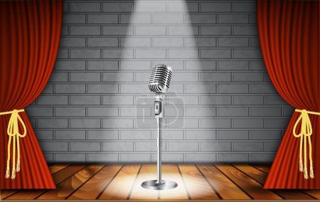 Illustration for Metallic silver vintage microphone standing on empty stage under beam of spotlight light on brick wall. vector art image illustration, retro design - Royalty Free Image