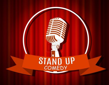 Illustration for Vintage white silhouette microphone icon against red curtain backdrop. mic on empty theatre stage, vector image illustration. stand up comedian night show background. retro design. ribbon - Royalty Free Image