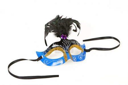 Blue Venetian Mask with Feather