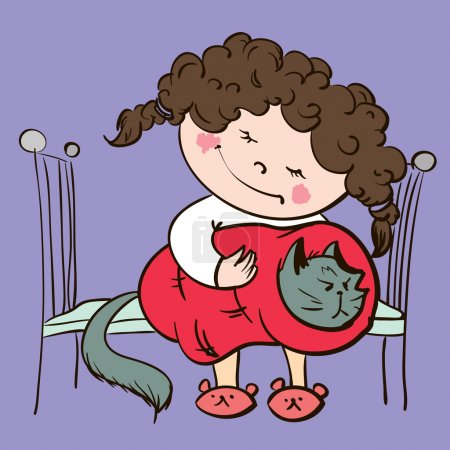 Illustration for Cartoon little girl and cat sleep. vector - Royalty Free Image