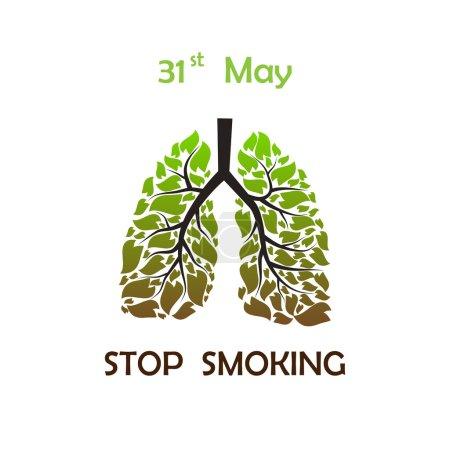 Illustration pour Poumons humains avec feuilles vertes et brunes avec texte et date STOP SMOKING - image libre de droit