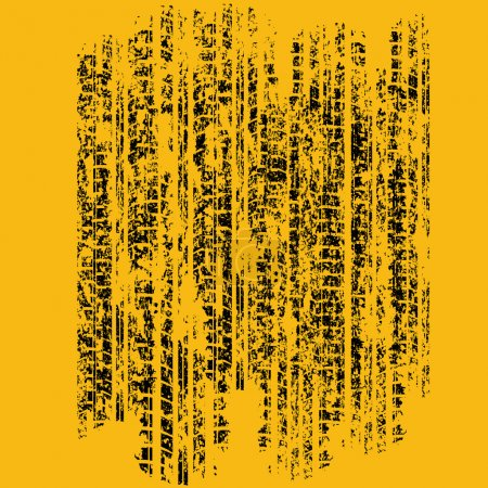 Illustration for Yellow grunge tire track with ink blots. eps10 - Royalty Free Image