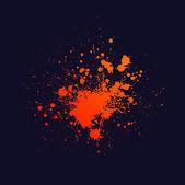 Orange ink blots splash isolated on navy blue background eps10