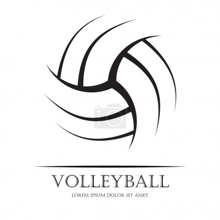Black volleyball ball silhouette with sample text....