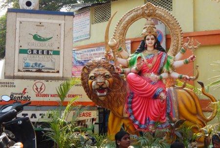closeup of Hindu Goddess Durga