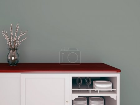 Photo for Classic kitchen design. Glass vase on the wooden worktop. - Royalty Free Image