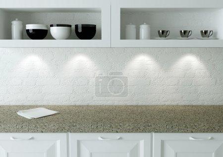 Ceramic kitchenware on the shelf. Marble worktop. ...
