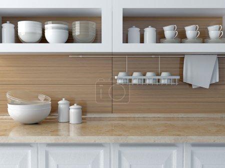 Modern kitchen design. White ceramic kitchenware o...