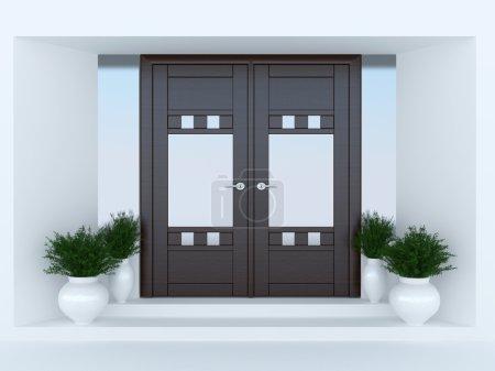 Photo pour Porte en bois de maison moderne. - image libre de droit