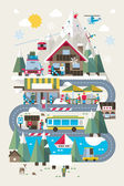 Flat style ski and snowboard resort illustration colourful vector background