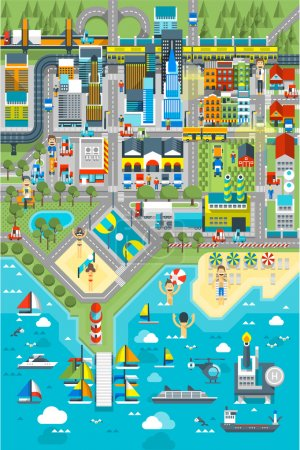 Photo for Map of City near sea, urban infographic - Royalty Free Image