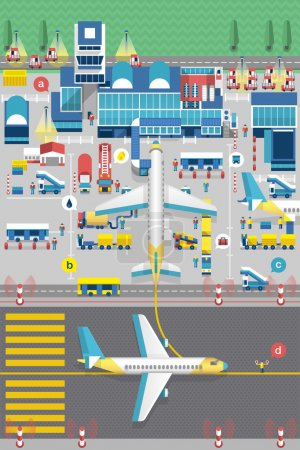 Illustration for Planes and airport runway info graphic, vector illustration - Royalty Free Image