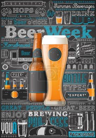 Illustration pour Fond graphique d'info de bière. Éléments vectoriels - image libre de droit