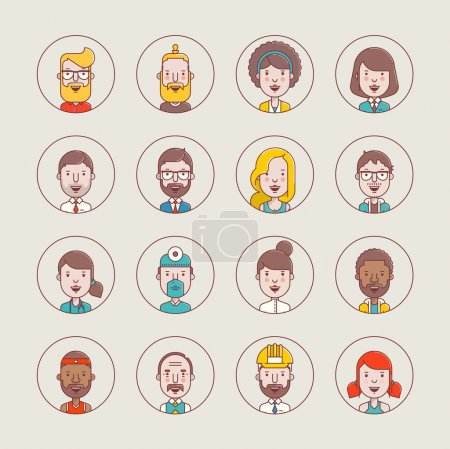 Illustration for Male and female vector avatars,flat style profile illustrations - Royalty Free Image