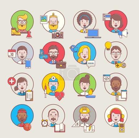 Illustration pour Avatars masculins et féminins avec leurs appareils et outils, illustrations de profil de style plat - image libre de droit