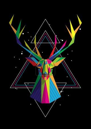 Illustration pour Tête de cerf géométrique, fond vectoriel coloré - image libre de droit