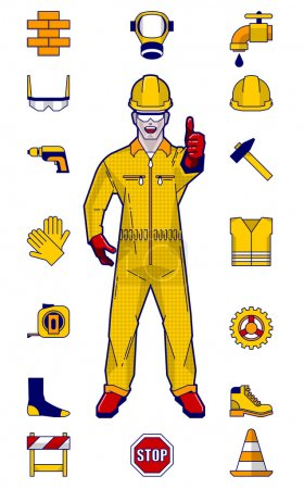 Illustration for Colorful vector illustration of construction worker and elements - Royalty Free Image