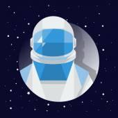 cosmonaut in dark cosmos with stars