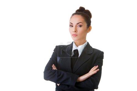 Photo pour Portrait d'une femme d'affaires confiant. Cette photo a été produite avec ces professionnels : maquilleuse, coiffeur et styliste. Un retoucheur professionnel lui a donné la touche finale magique - image libre de droit