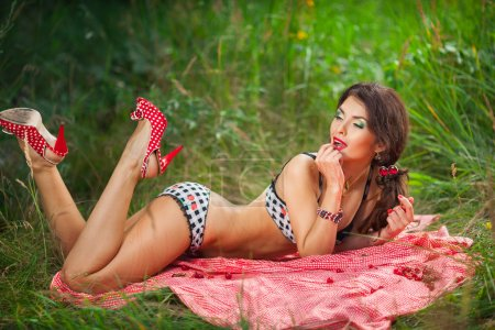 sensual girl with red lips, pin-up cherry retro style