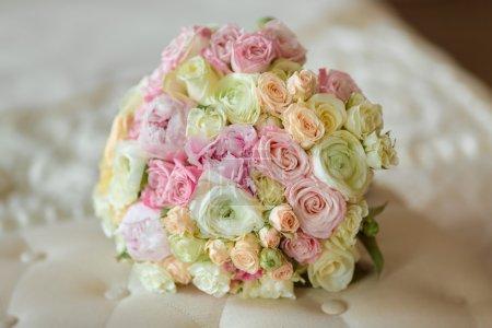 Brides Bouquet on Sofa