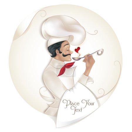 Illustration pour Chef tenant louche avec illustration vectorielle d'amour - image libre de droit