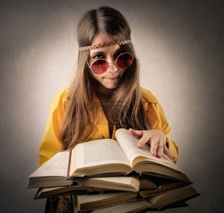 Hippy girl studying