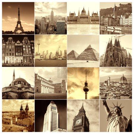 Photo pour Collage Sepia de différentes villes - image libre de droit